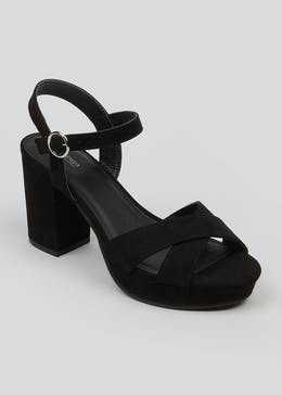 Black Cross Strap Platform Heels