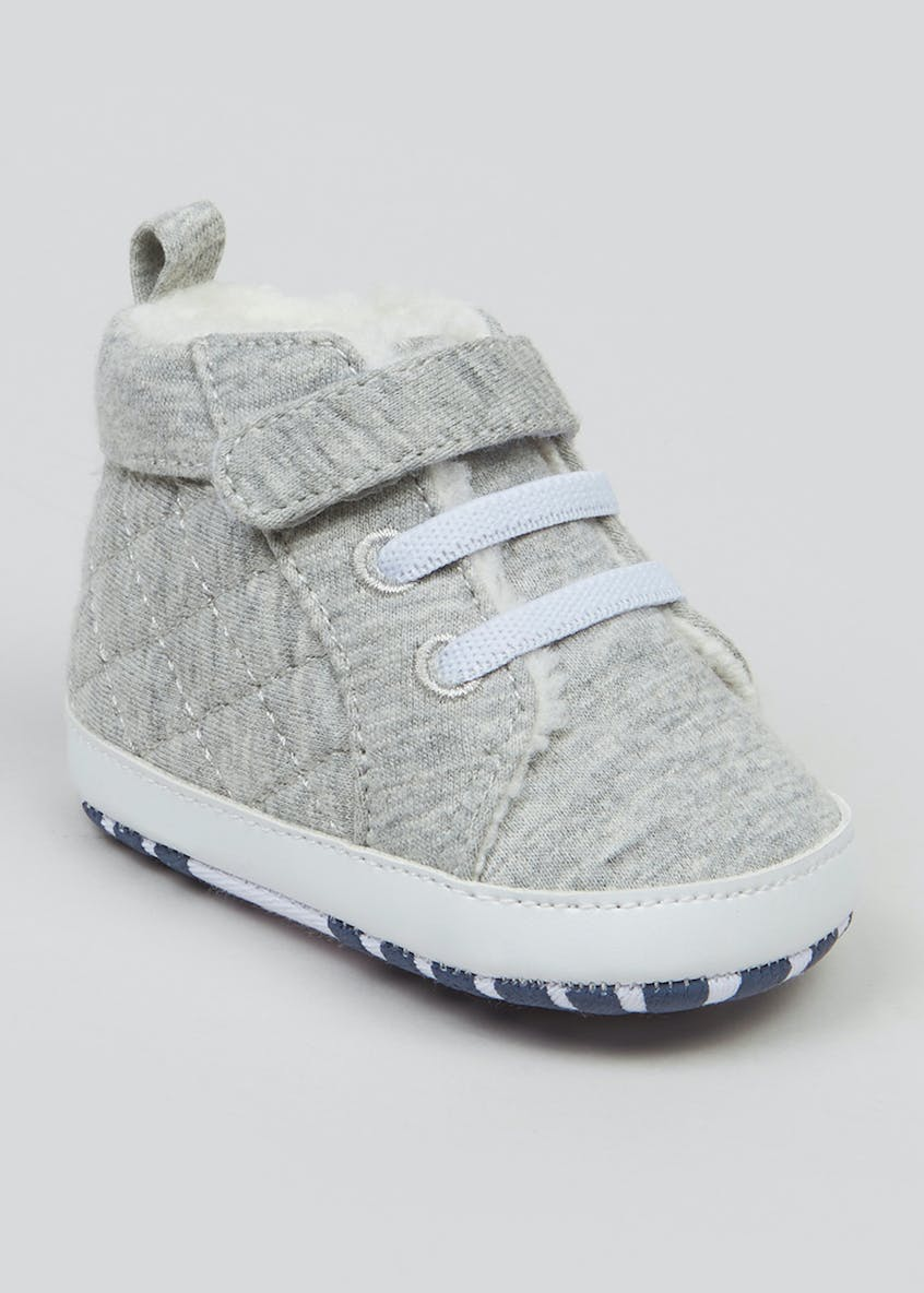 Unisex Grey Soft Sole Baby Trainers (Newborn-18mths)
