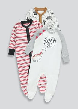 Boys 3 Pack Dinosaur Baby Grows (Tiny Baby-18mths)