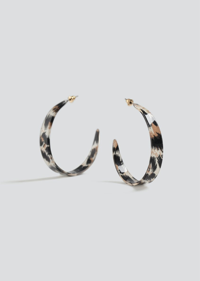 Leopard Resin Hoop Earrings
