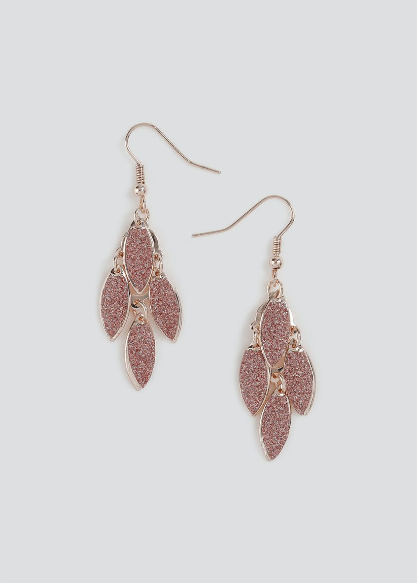 Glitter Leaf Drop Earrings.