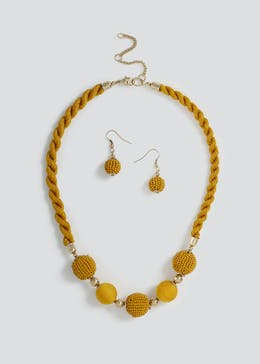 Seedbead Rope Necklace and Earrings Set