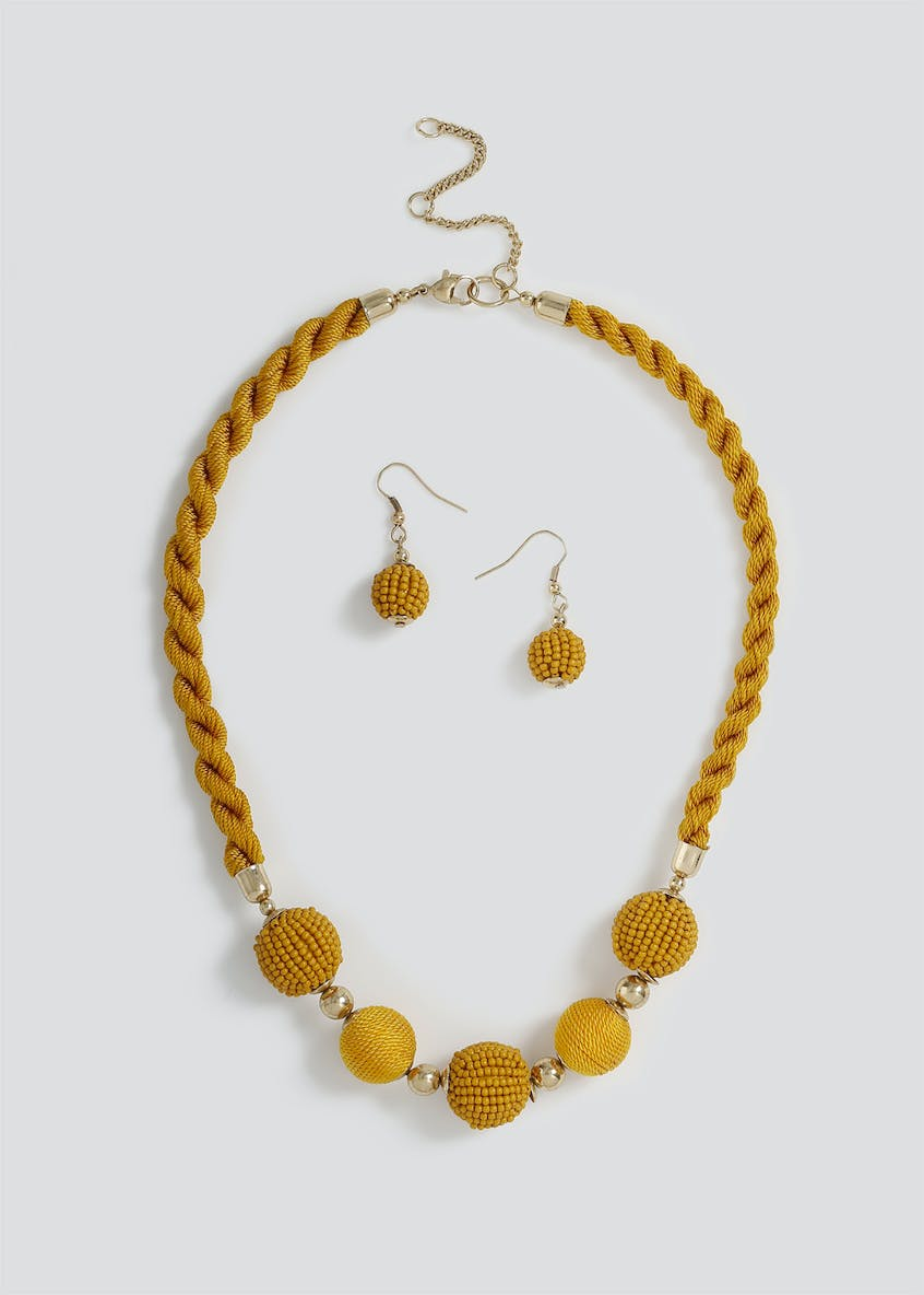 Seedbead Rope Necklace and Earrings set.