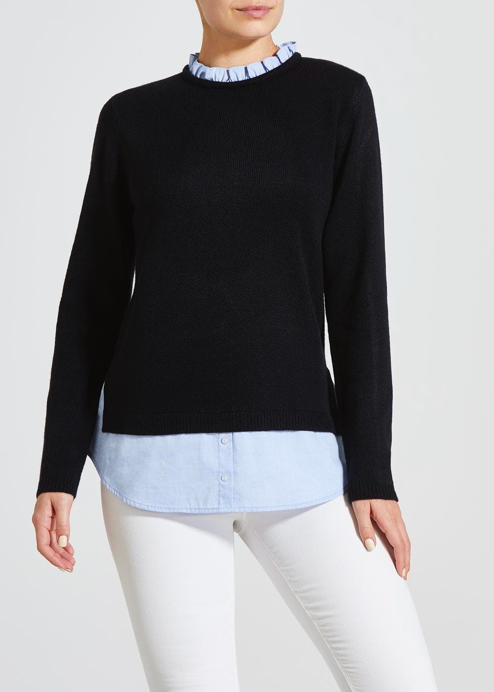 Frill 2 In 1 Shirt Jumper Navy Matalan