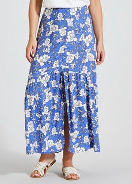 Floral Button High Low Maxi Skirt