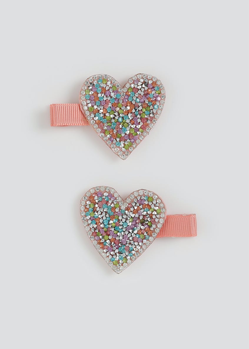 Girls 2 Pack Glitter Heart Clips