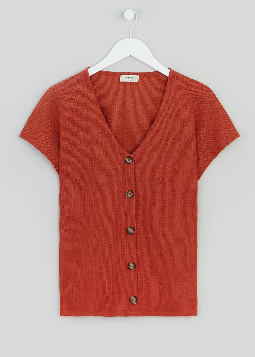 Textured Button Front Co-Ord Top