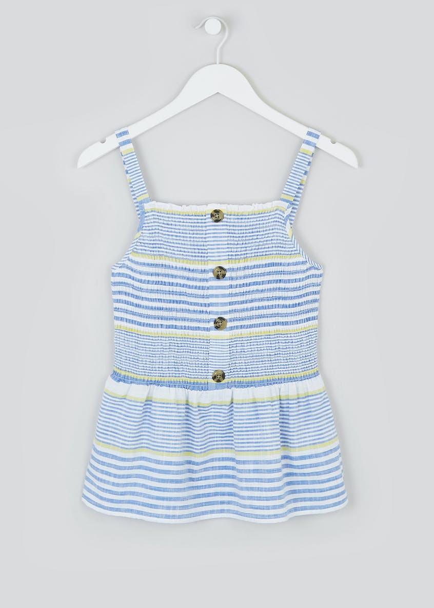 Stripe Button Front Shirred Cami