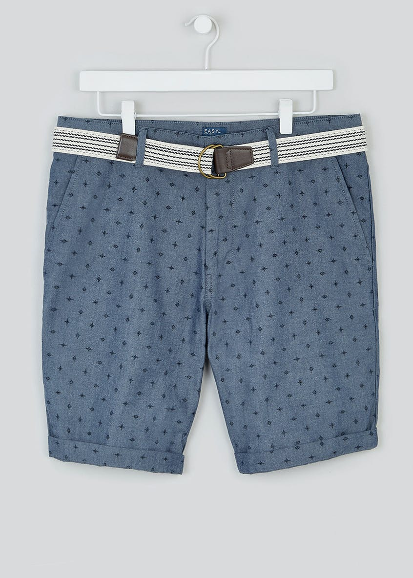 Belted Chambray Shorts