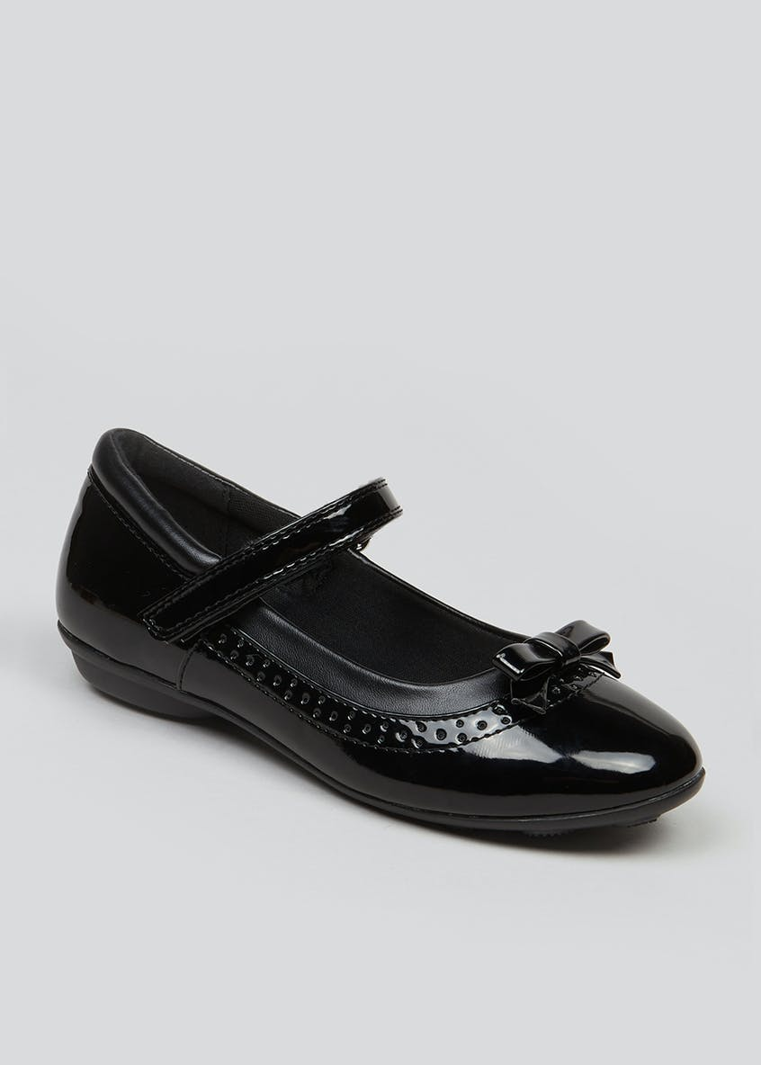 Girls Patent Embossed School Shoes