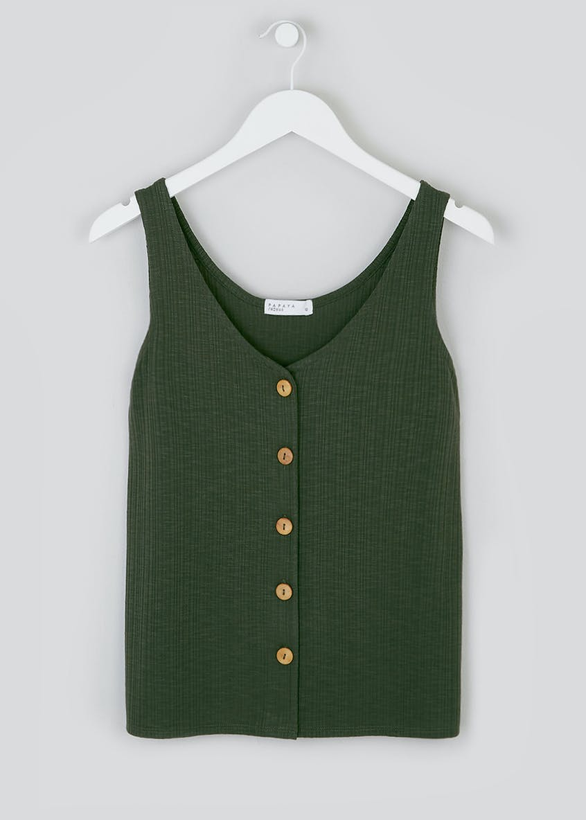 Ribbed Button Front Vest