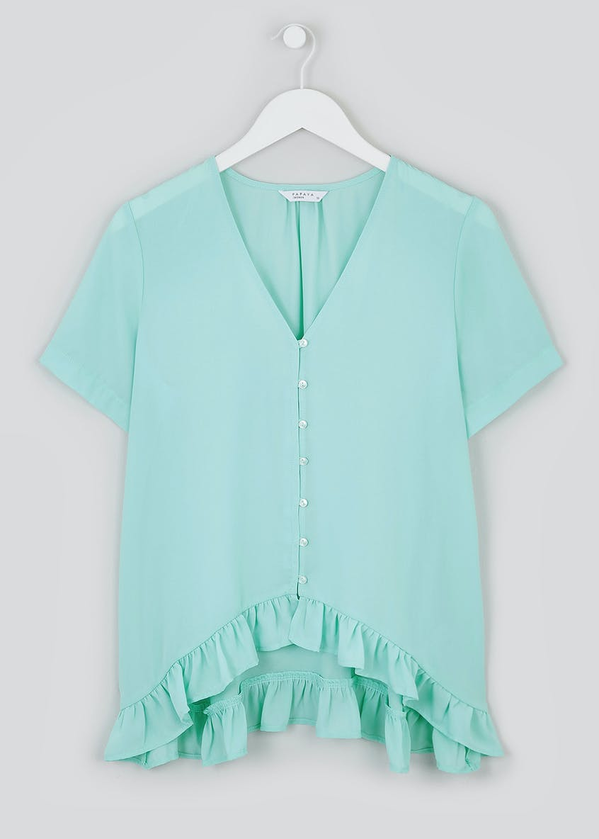 Chiffon Frill Button Front Top