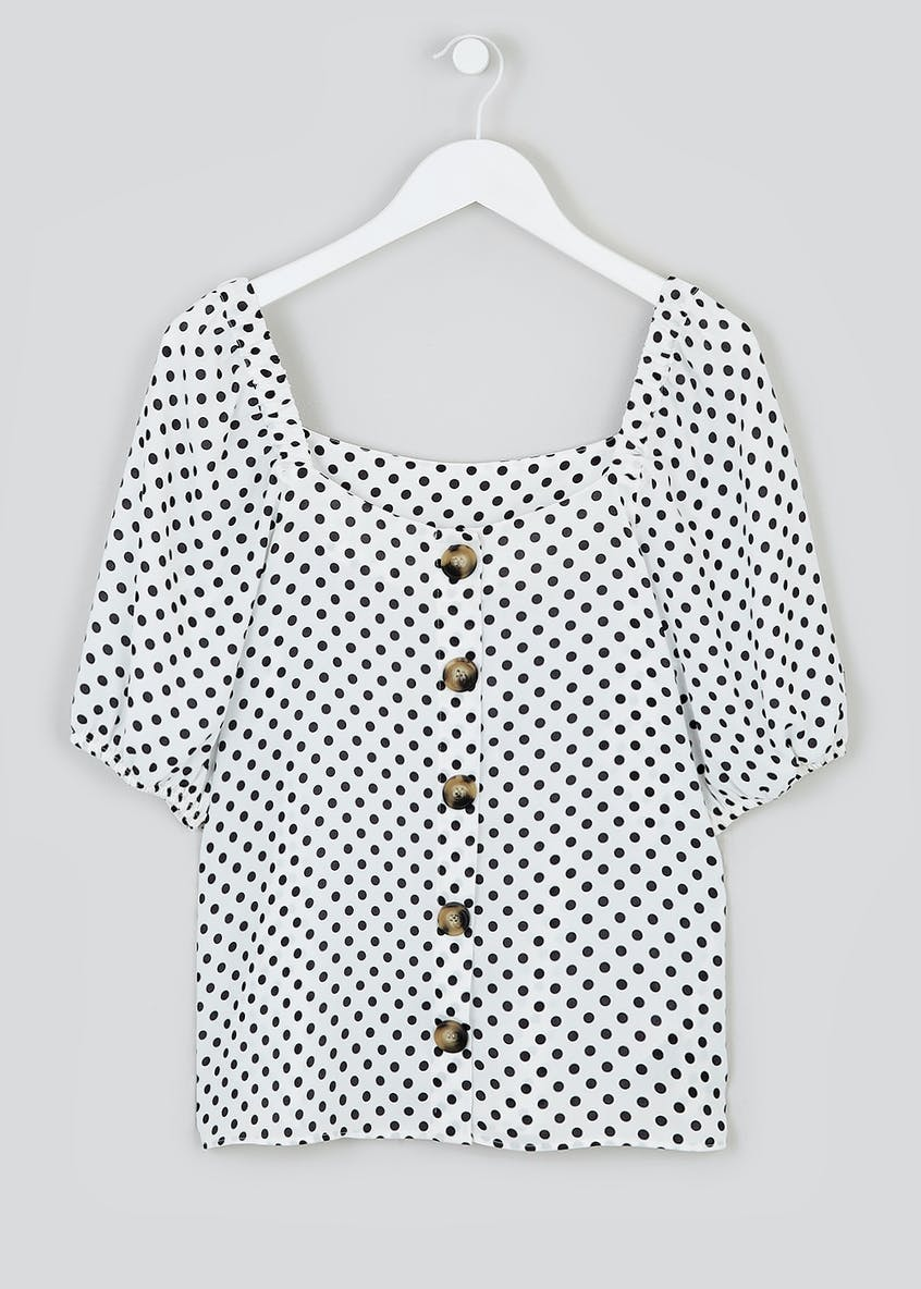 Polka Dot Square Neck Button Front Top
