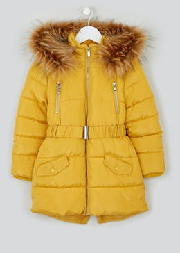 Girls Yellow Padded Parka Coat (4-13yrs)