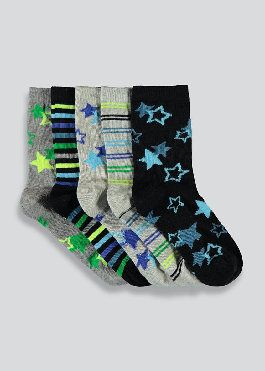Kids 5 Pack Neon Star Socks (Younger 6-Older 6.5)