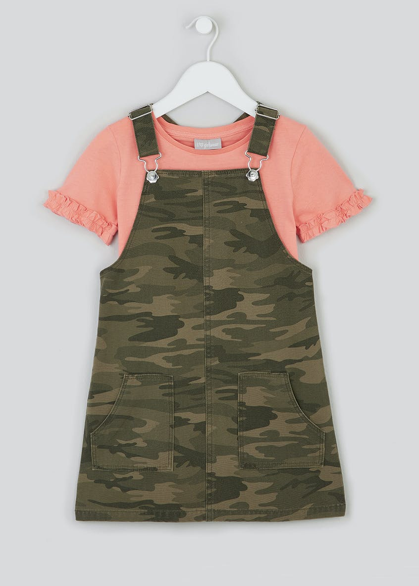 Girls Camo Pinafore & Top Set (4-13yrs)