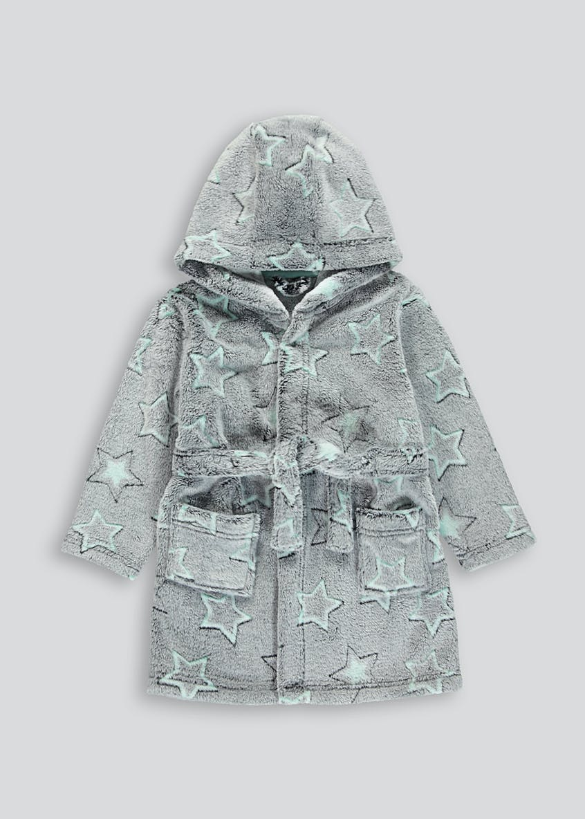 Kids Star Embossed Hooded Dressing Gown (9mths-5yrs)