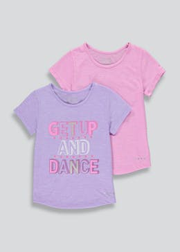 Girls Souluxe 2 Pack Dance Slogan T-Shirts (4-13yrs)