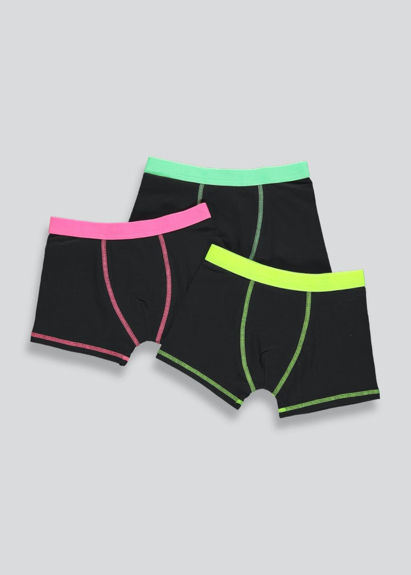 Boys 3 Pack Neon Trunks (2-16yrs)