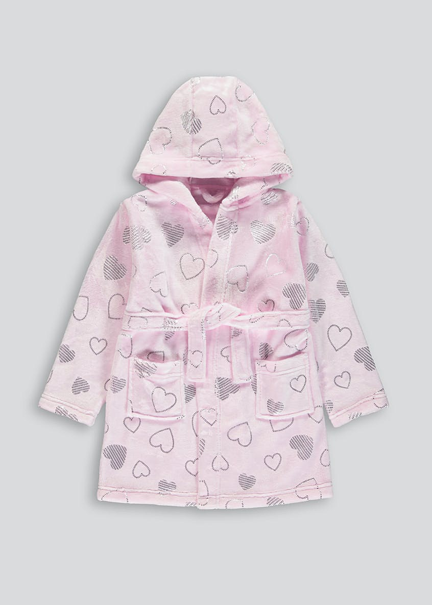 Mini Me Girls Foil Heart Dressing Gown (9mths-5yrs)