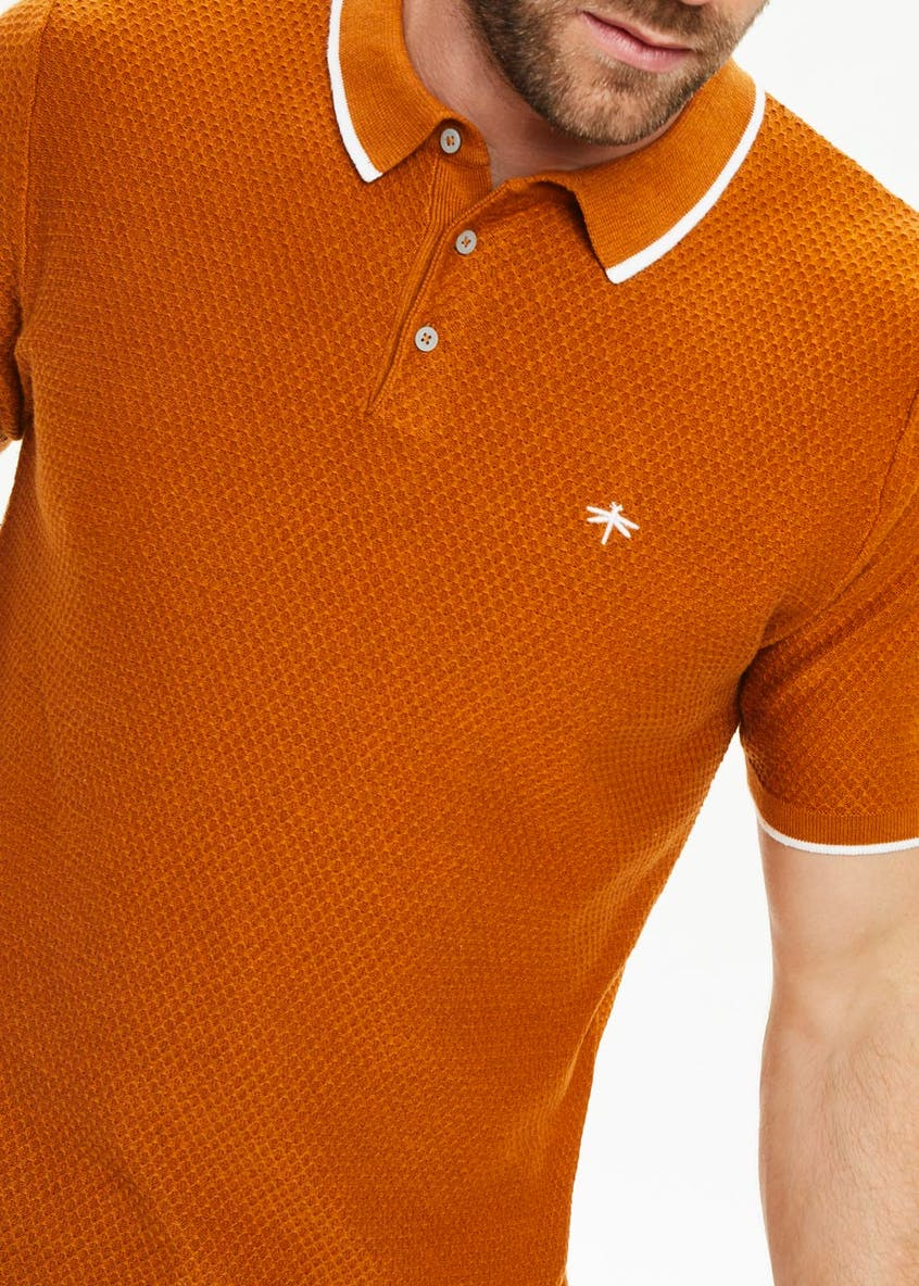 Short Sleeve Textured Knit Polo Shirt