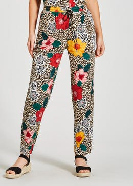Floral Leopard Print Co-Ord Trousers