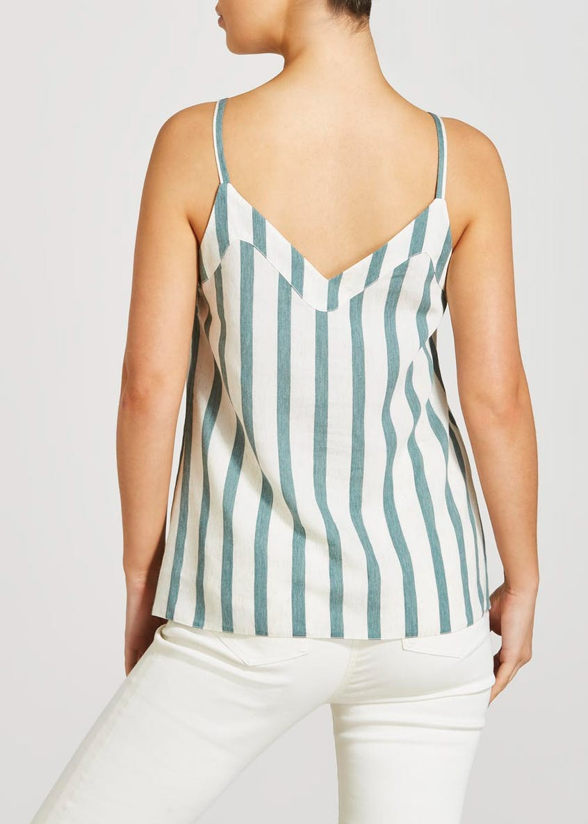 Stripe Button Front Linen Look Cami