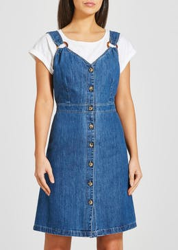 Mid Wash Button Denim Pinafore Dress