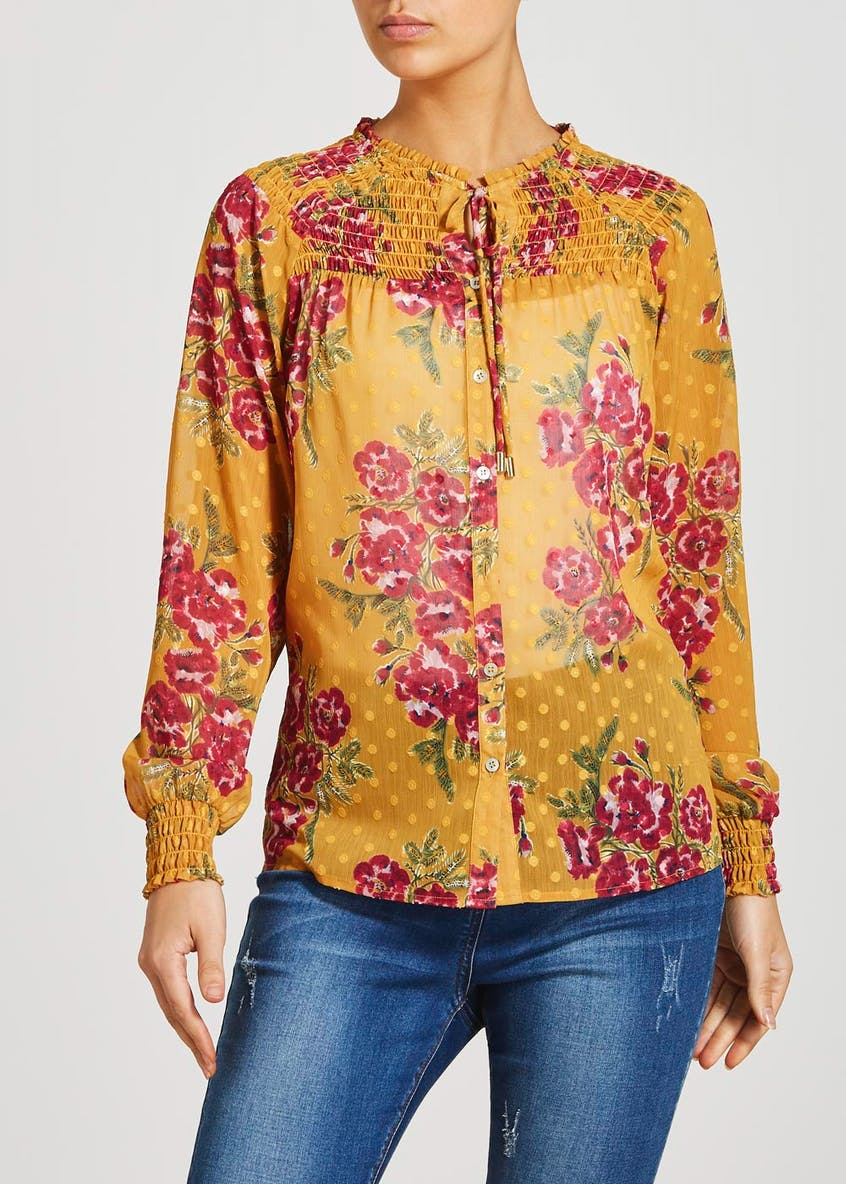 Falmer Yellow Long Sleeve Floral Shirred Blouse