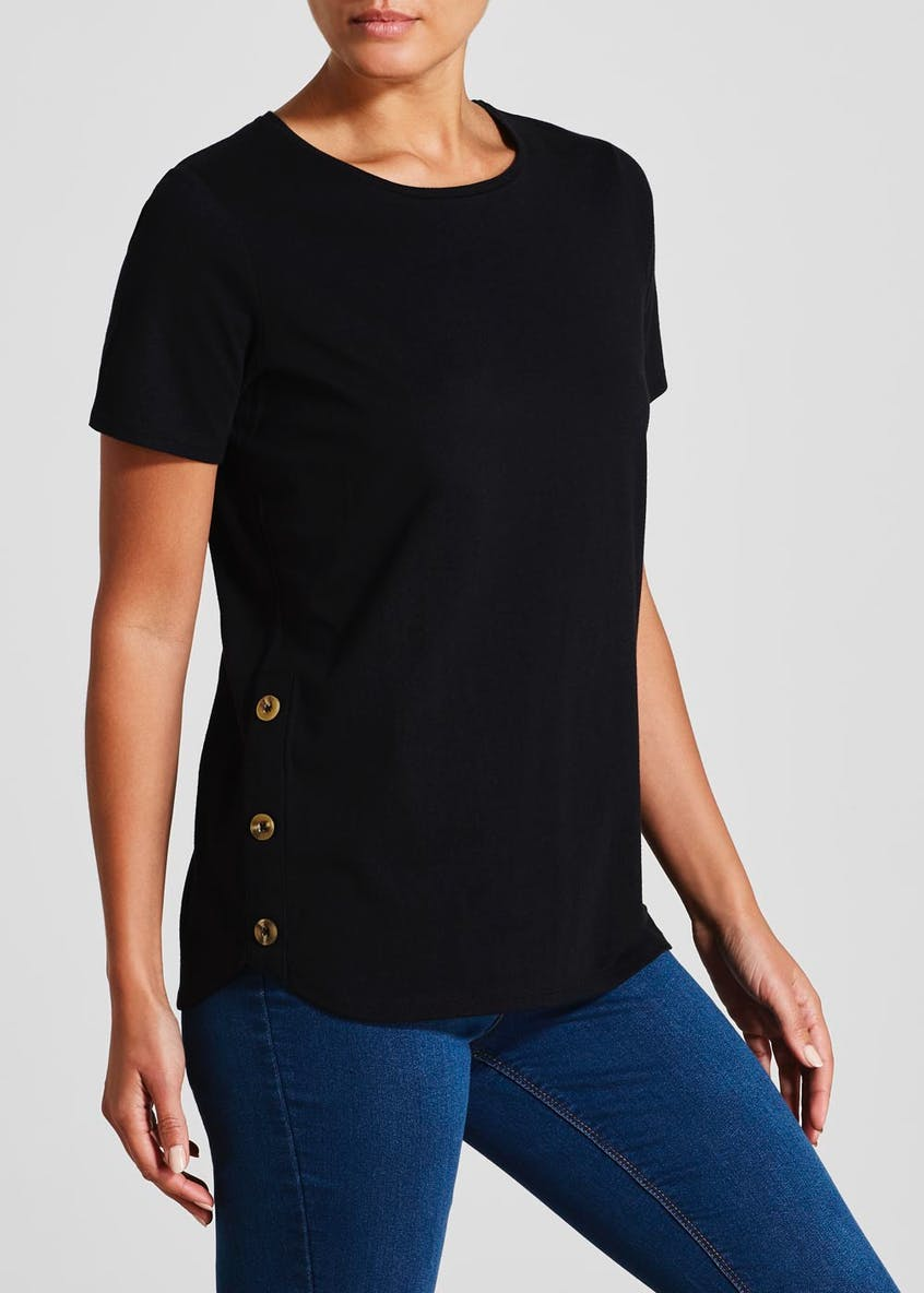 Button Hem T-Shirt