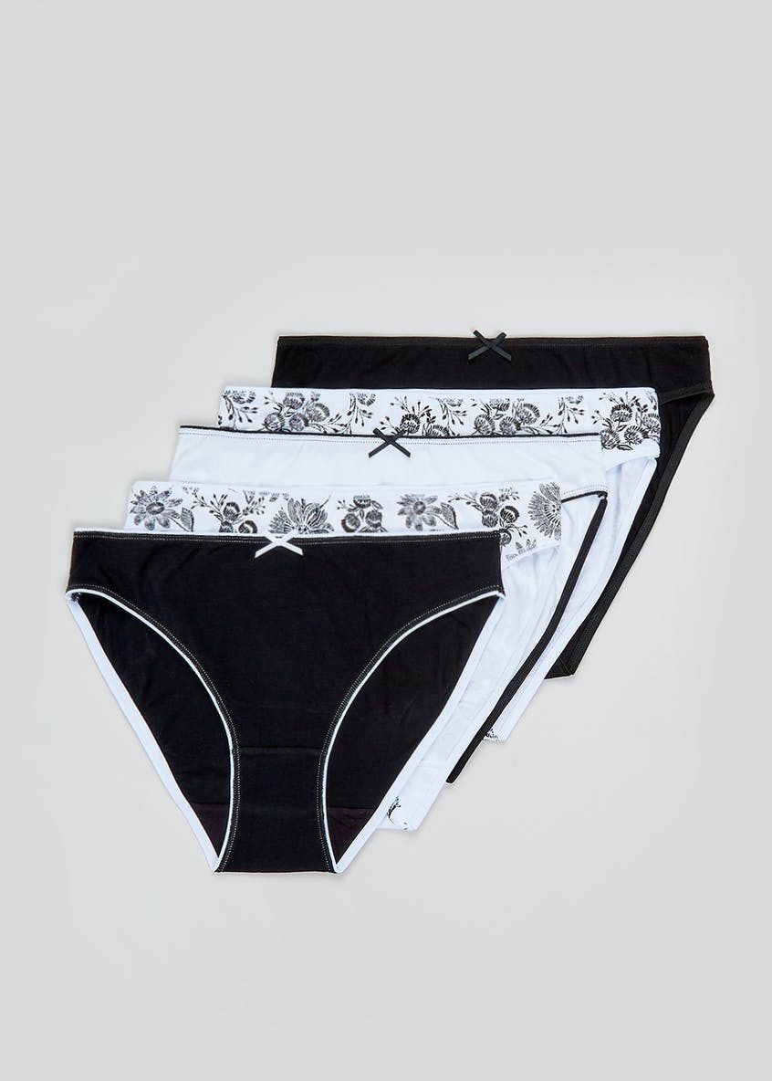 5 Pack Floral High Leg Knickers