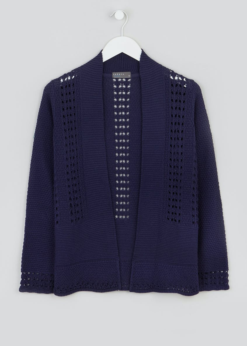 Navy Pointelle Knit Cardigan