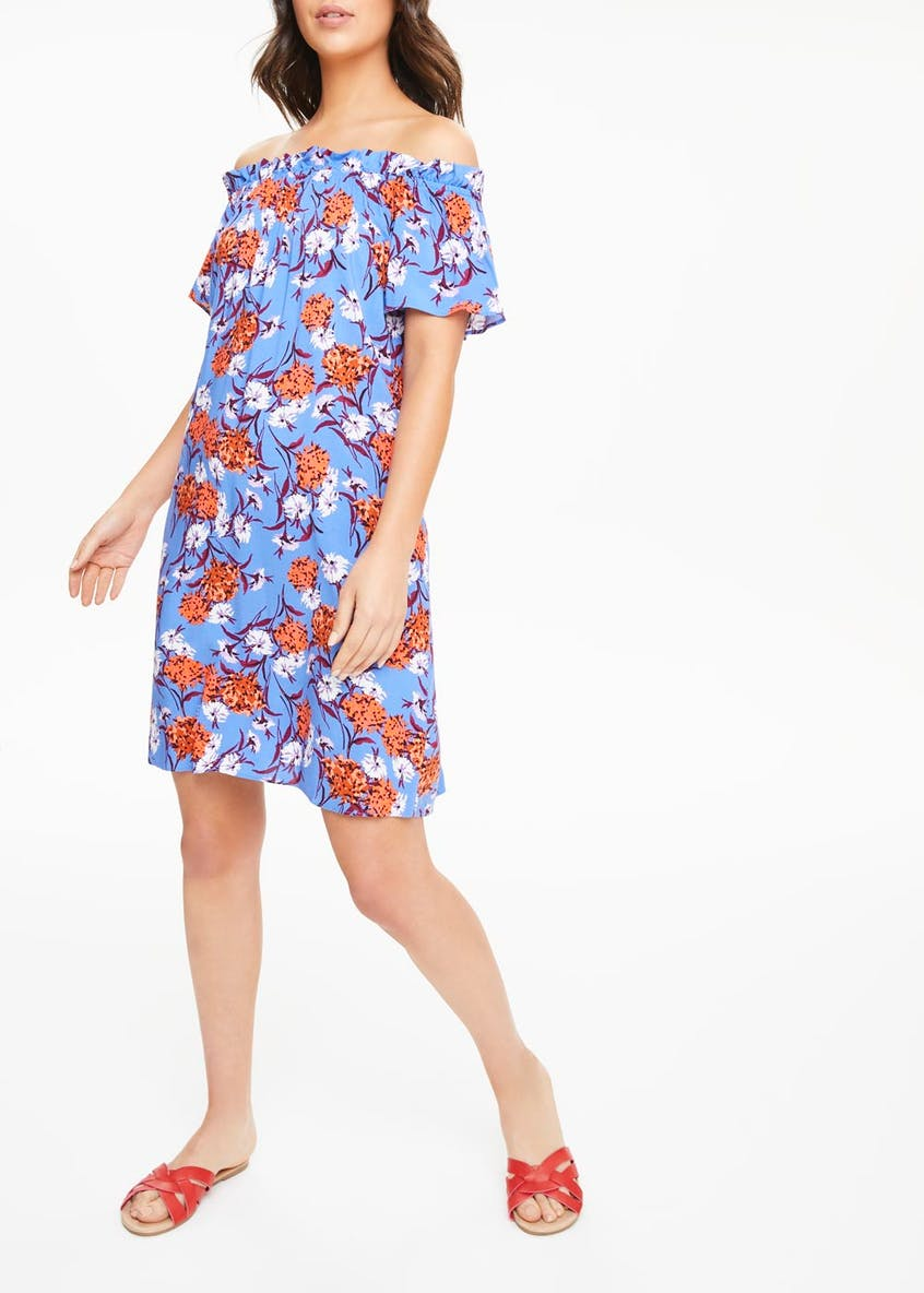 Floral Viscose Bardot Dress