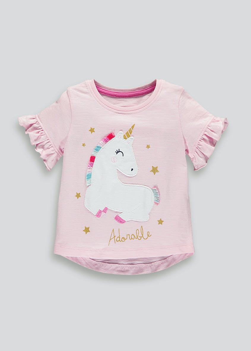 Girls Unicorn Frill Sleeve T-Shirt (9mths-6yrs)