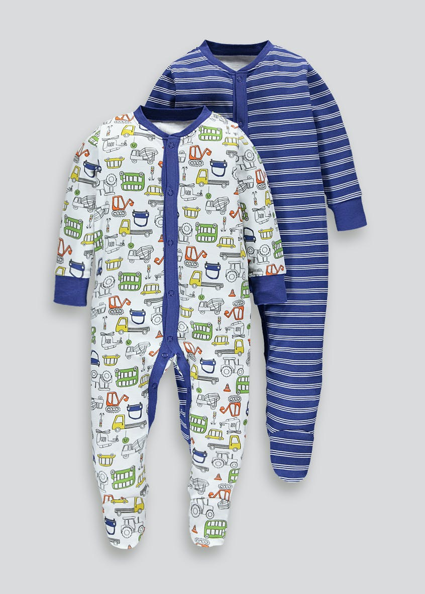 Boys 2 Pack Baby Grows (Tiny Baby-18mths)