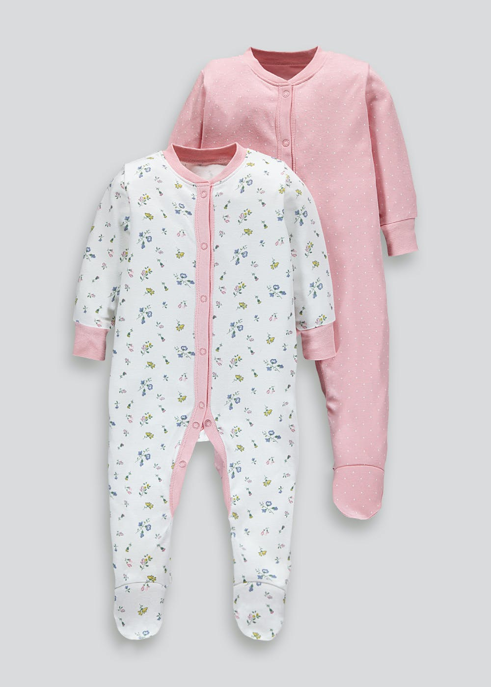 Girls 2 Pack Printed Baby Grows (Tiny Baby 18mths) by Matalan