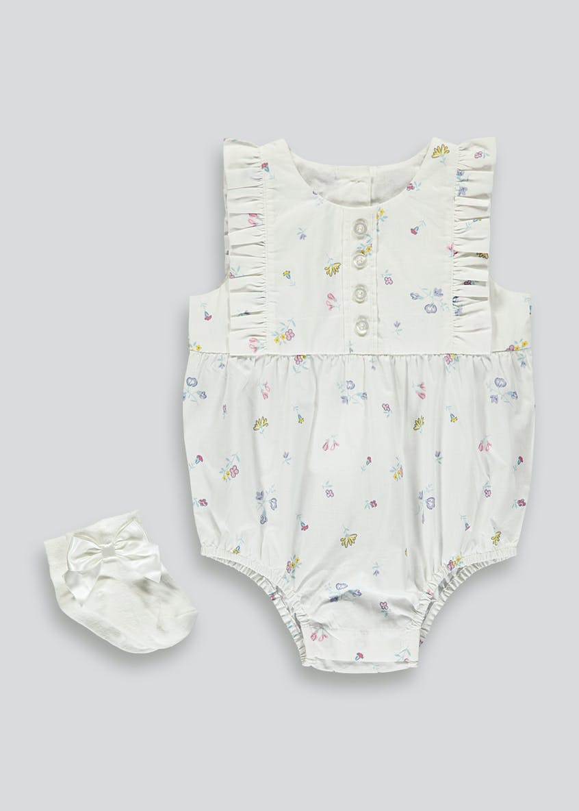 Girls Floral Bodysuit & Socks (Tiny Baby-18mths)