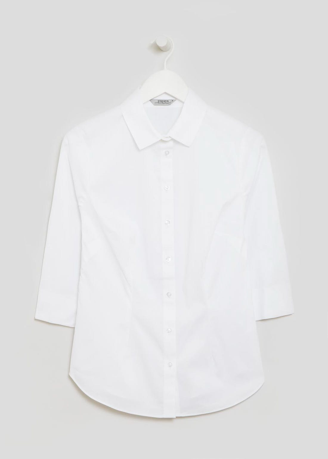 White 3/4 Sleeve Fitted Shirt