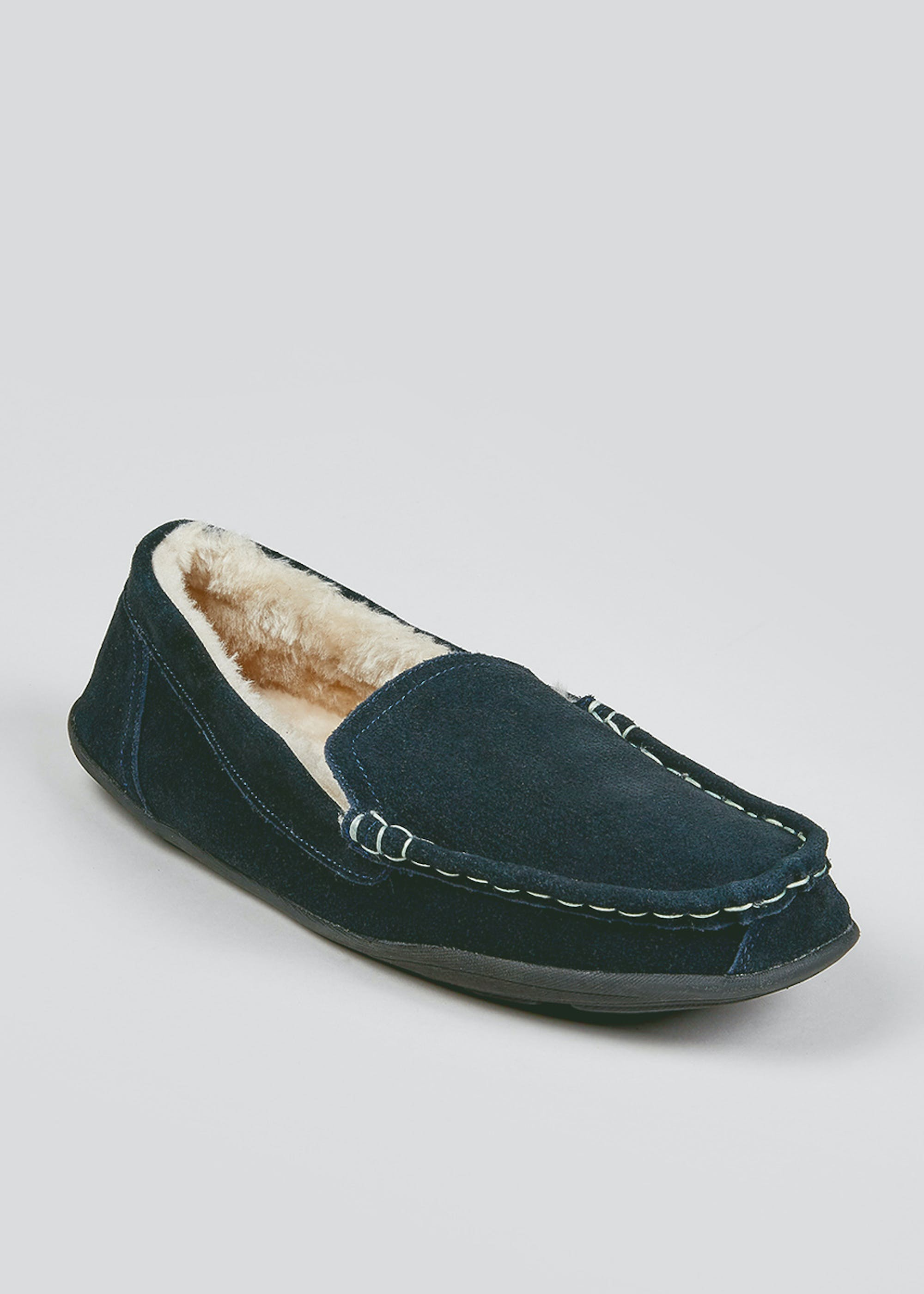 Navy Real Suede Moccasin Slippers Navy JialLi