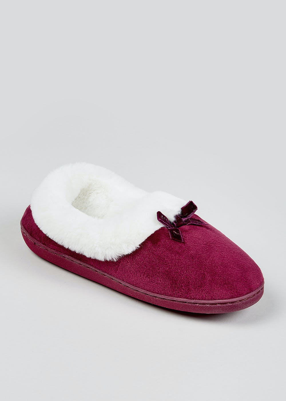 Classic Bow Faux Fur Full Slippers – Burgundy