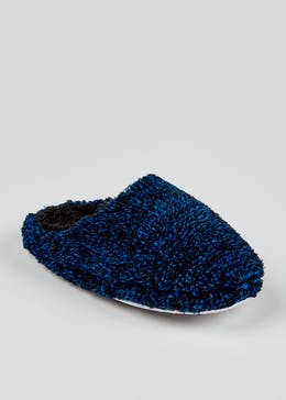 Boys Navy Fluffy Mule Slippers (Younger 10-Older 6)