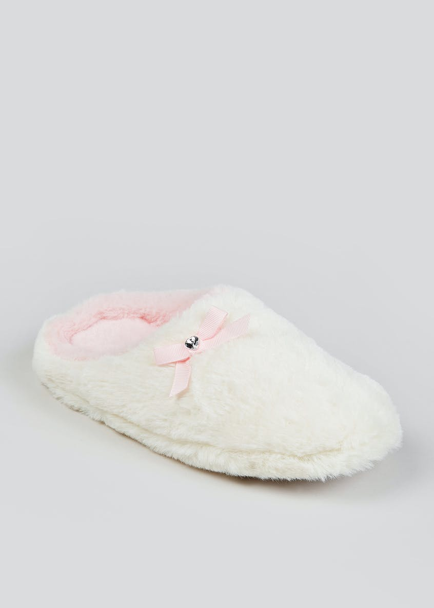 Girls Cream Faux Fur Mule Slippers (Younger 10-Older 5)