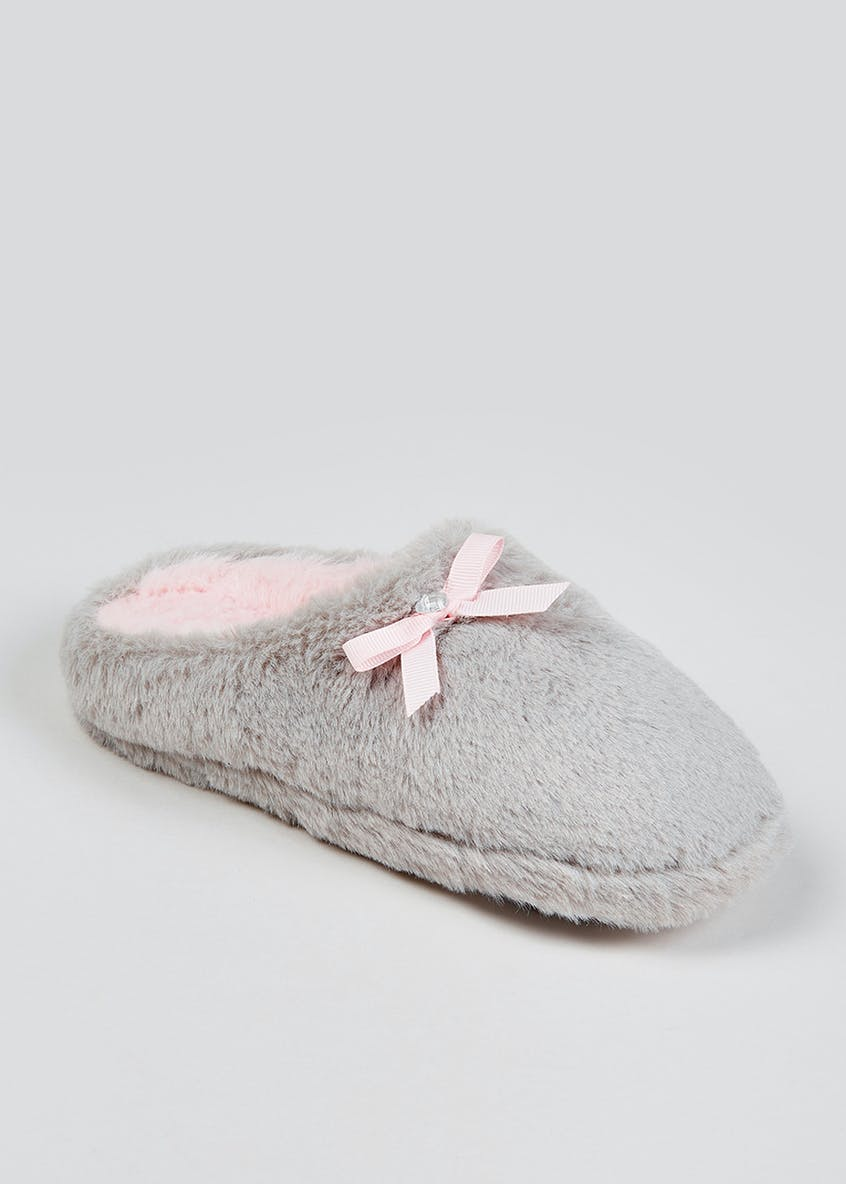 Girls Grey Faux Fur Mule Slippers (Younger 10-Older 5)
