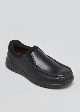 Boys Real Leather Slip On School Shoes (Younger 8-Older 6)