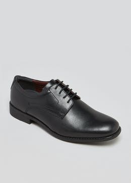 Soleflex Black Real Leather Derby Shoes