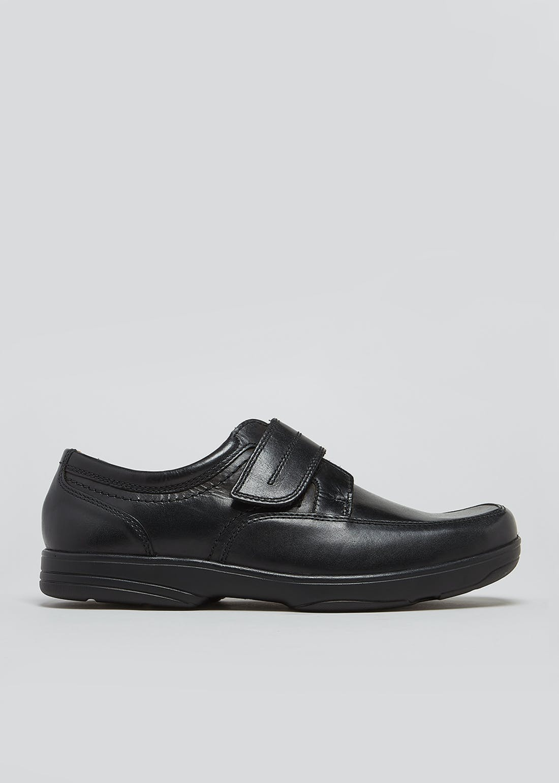Soleflex Black Real Leather Riptape Strap Shoes