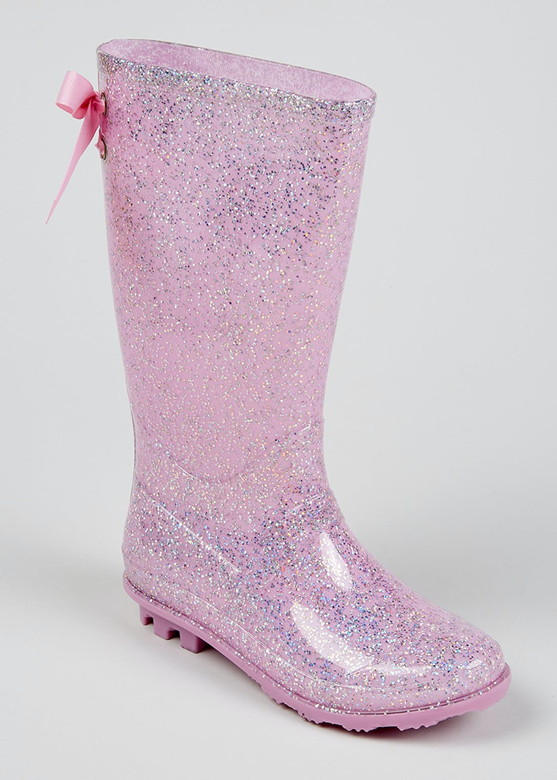 Girls Pink Ribbon Glitter Wellies (Younger 10-Older 5)