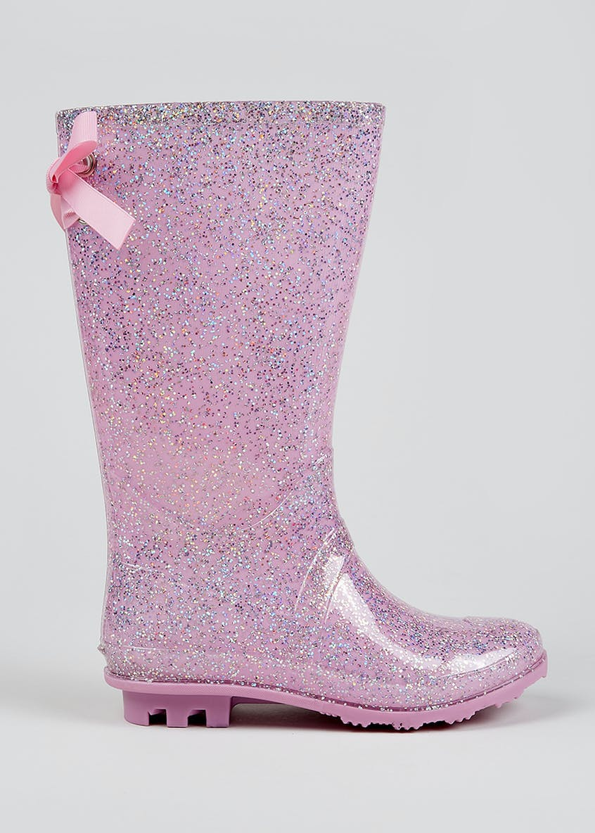 Girls Ribbon Glitter Wellies (Younger 10-Older 5)