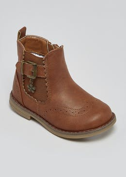 Girls Tan Flower Charm Chelsea Boots (Younger 4-12)