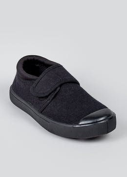 Kids Black Strap Plimsolls (Younger 7-Older 3)